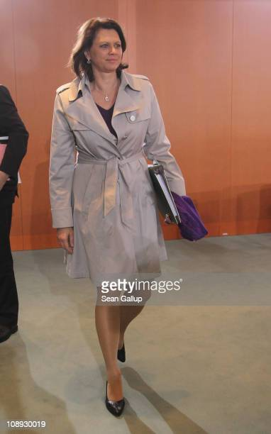 German Agriculture and Consumer Protection Minister Ilse Aigner arrives for the weekly German government cabinet meeting at the Chancellery on...