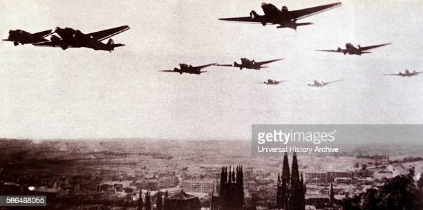 German aircraft used by the Nationalist air Force fly over Burgos Spain during the Spanish Civil War