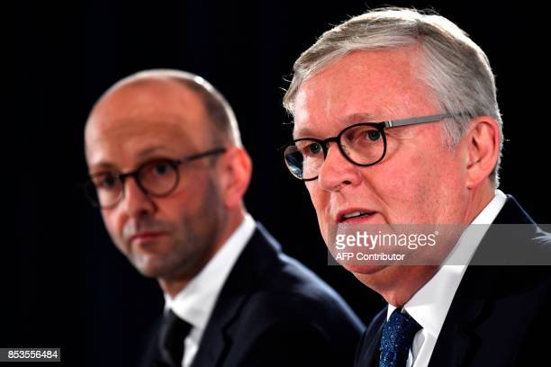German airline 'Air Berlin' 's CEO Thomas Winkelmann and Lucas Floehter insolvency administrator in charge of the case of the German airline attend a...