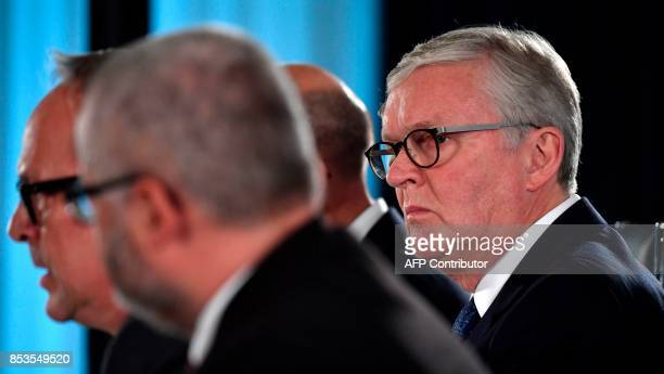 German airline 'Air Berlin' 's CEO Thomas Winkelmann attends a press conference on the future of the airline company in Berlin on September 25 2017...