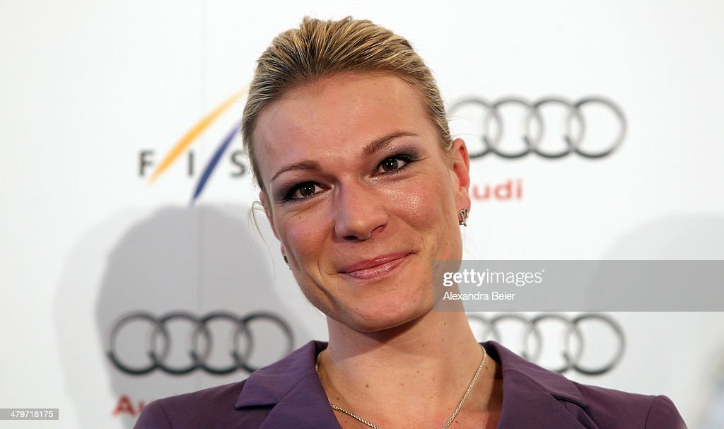 German alpine skier <a gi-track='captionPersonalityLinkClicked' href=/galleries/search?phrase=Maria+Hoefl-Riesch&family=editorial&specificpeople=7648886 ng-click='$event.stopPropagation()'>Maria Hoefl-Riesch</a> reacts after she announced to finish her career as alpine skier at Audi Forum Airport Munich on March 20, 2014 in Munich, Germany. Hoefl-Riesch ended her carreer after 14 years in alpine sport.