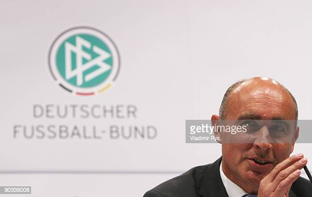 German ambassador in South Africa Dieter W Haller attends the German Football National Team press conference at the Guerzenich Koeln on September 4...