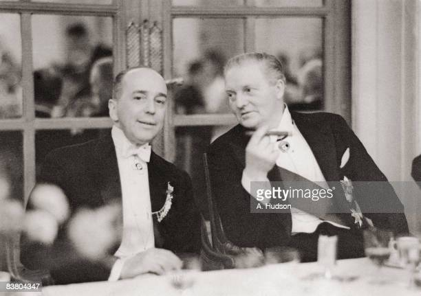 German ambassador Leopold von Hoesch with Sir Harold Bowden Chairman of the British Olympic Association during a BOA dinner at the Savoy Hotel London...