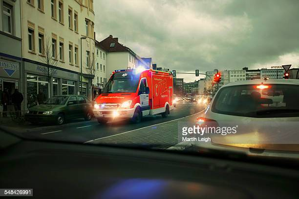 German ambulance with sirens and lights