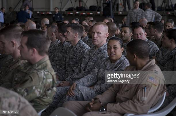 German American and Spanish military personnel wait for the United States Secretary of Defense Ashton Carter's speech at Incirlik Airbase in Adana...