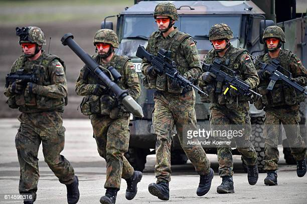 German and Dutch forces participate in the 'Land Operations' military exercises during a media day at the Bundeswehr training grounds on October 14...