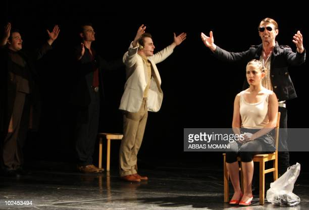 German and Palestinian theatre students perform the classic Greek play 'Antigone' by Sophocles at the Palestinian Drama Academy in Ramallah on June...