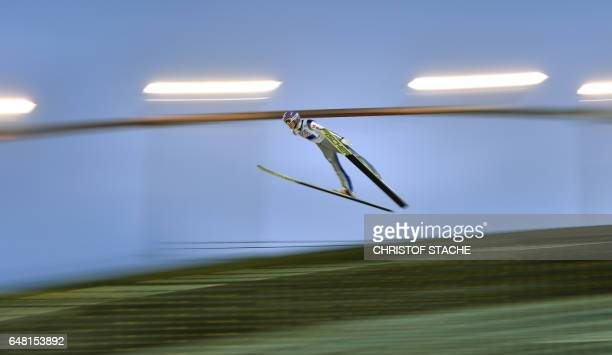 German Andreas Wellinger competes during the Men's Large Hill Team Ski Jumping event of the 2017 FIS Nordic World Ski Championships in Lahti Finland...