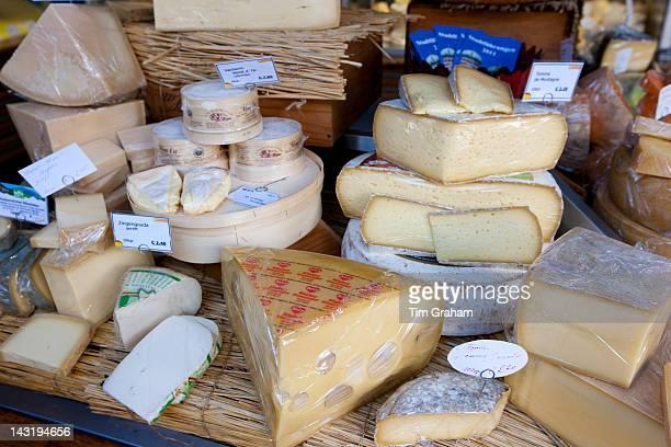 German artisan cheeses on sale at Viktualienmarkt food market in Munich Bavaria Germany