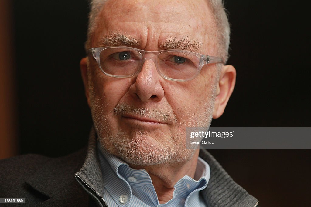 German artist <a gi-track='captionPersonalityLinkClicked' href=/galleries/search?phrase=Gerhard+Richter&family=editorial&specificpeople=661262 ng-click='$event.stopPropagation()'>Gerhard Richter</a> speaks to journalists and art collectors on the press day of his exhibition '<a gi-track='captionPersonalityLinkClicked' href=/galleries/search?phrase=Gerhard+Richter&family=editorial&specificpeople=661262 ng-click='$event.stopPropagation()'>Gerhard Richter</a> Panorama' at the Neue Nationalgalerie on February 10, 2012 in Berlin, Germany. The exhibition, which is a sweeping retrospective of his work, will be open to the public from February 12 through May 13.