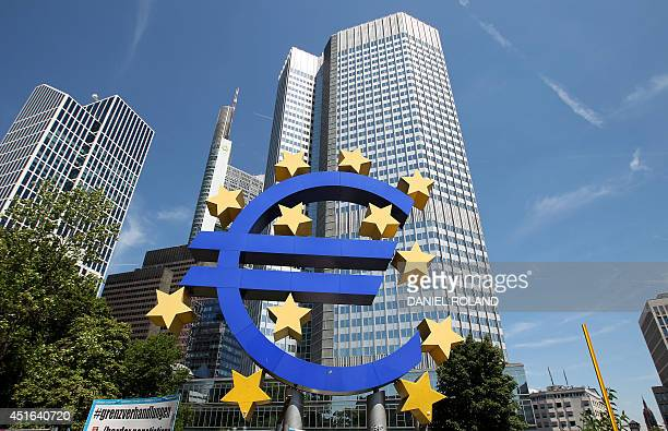 German artist Ottmar Hoerl 's sculpture depicting the Euro logo is pictured at the European Central Bank ECB in Frankfurt/Main central Germany on...