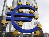German artist Ottmar Hoerl 's sculpture depicting the Euro logo is pictured in front of the European Central Bank ECB in Frankfurt/Main Germany on...