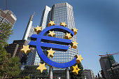 German artist Ottmar Hoerl 's sculpture depicting the Euro logostands in front of the headquarters of the European Central Bank in Frankfurt am Main...