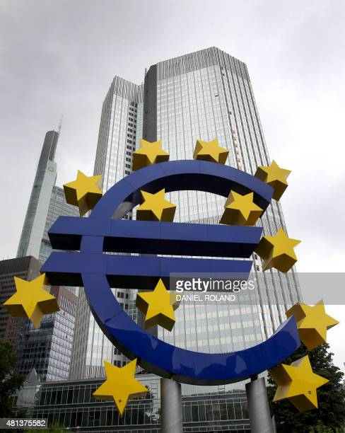 German artist Ottmar Hörl 's sculpture depicting the Euro logo is pictured in front of the former headquarter of the European Central Bank in...