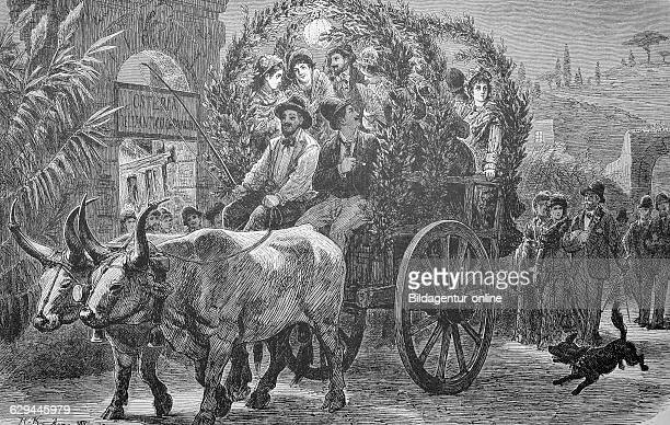 German artists in rome taking a ride in a carriage italy historic wood engraving ca 1880