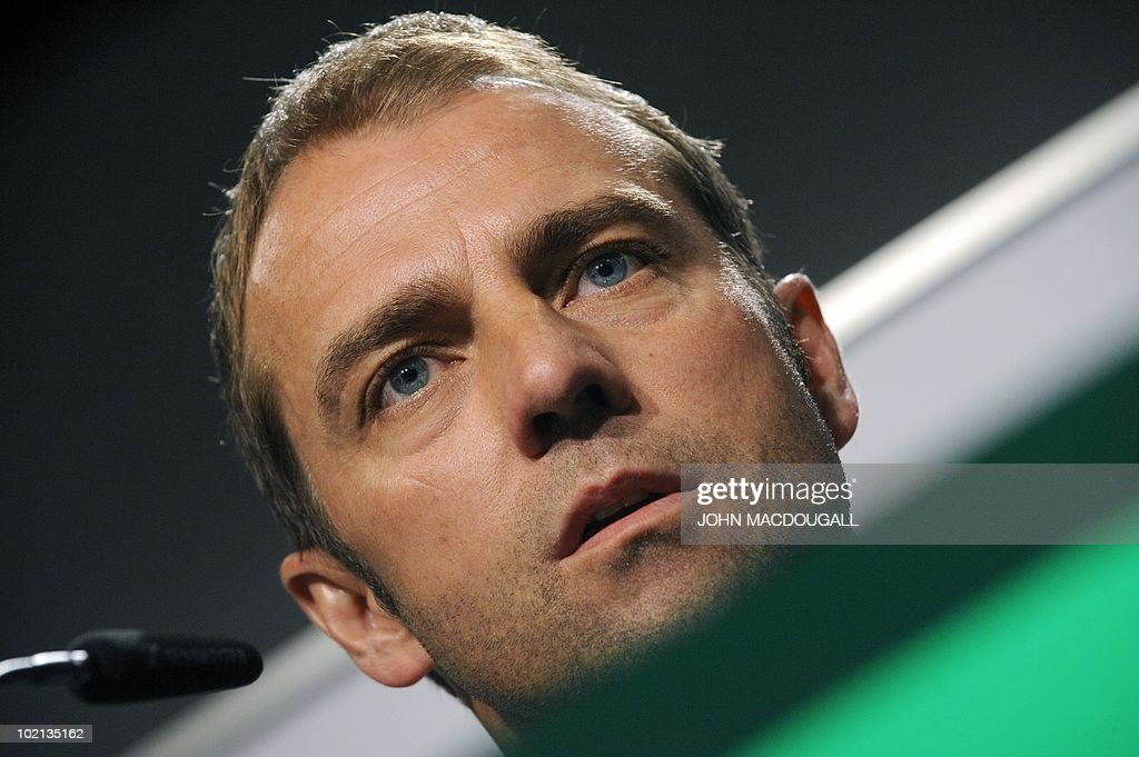 German assistant coach Hansi Flick addresses a press conference at the Velmore hotel in Erasmia near Pretoria on June 16, 2010 during the 2010 World Cup football tournament in South Africa.