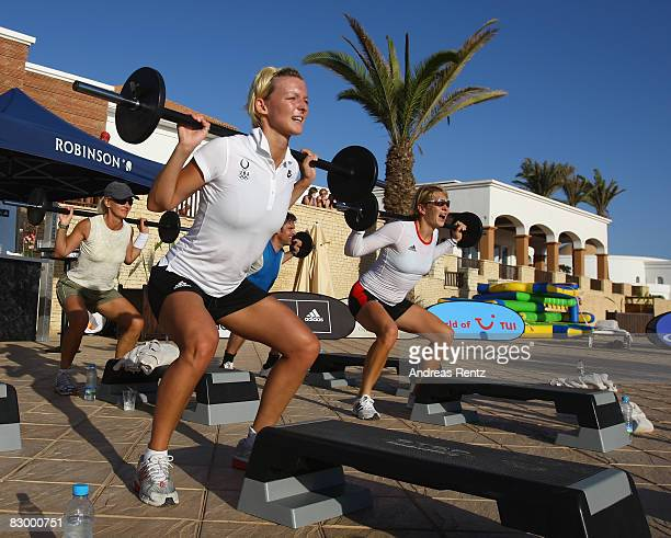 German athlete Ditte Kotzian exercises during the Champion of the Year 2008 Award at Robinson Club Agadir on September 24 2008 in Agadir Marocco