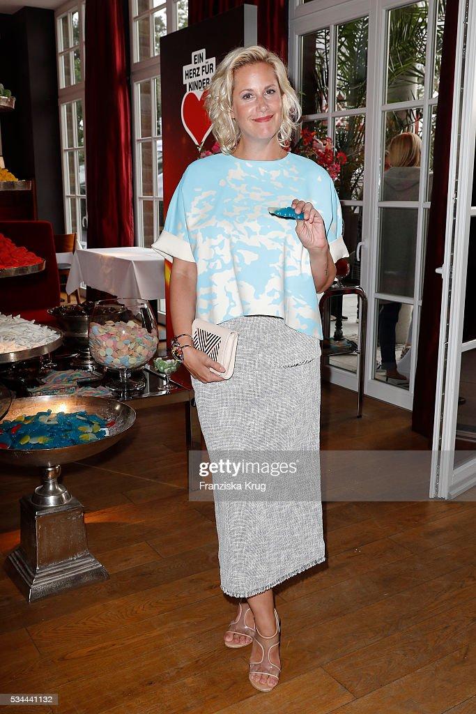 German author Anika Decker during the 'Ein Herz fuer Kinder' summer party at Wannseeterrassen on May 26, 2016 in Berlin, Germany.