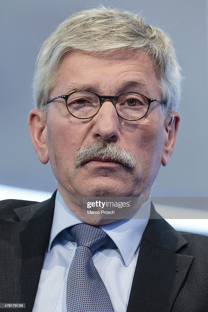 German author Thilo Sarrazin attends the Leipzig Book Fair on March 14, 2014 in Leipzig, Ger... Show more - german-author-thilo-sarrazin-attends-the-leipzig-book-fair-on-march-picture-id479179135