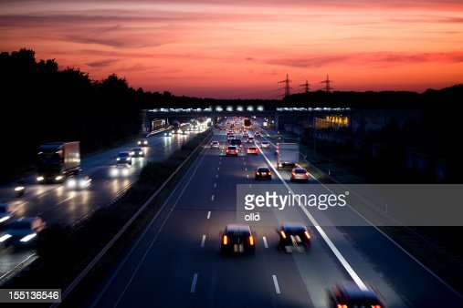 German autobahn at dusk, long exposure