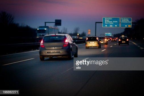 German autobahn at dusk