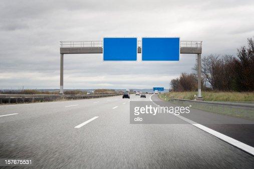 German Autobahn, empty road sign - copy space