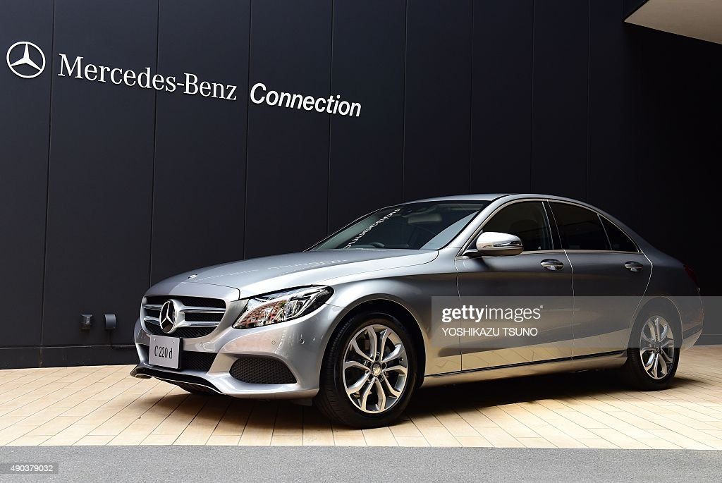 German automaker Mercedes Benz displays a 'C220d' car with a 22litre turbo charged diesel engine at a press presentation in Tokyo on September 28...