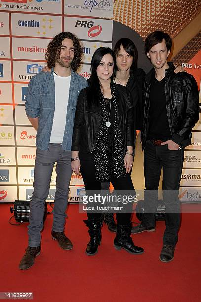 German band Silbermond Andreas Nowak Stefanie Kloss Thomas Stolle and Johannes Stolle attend the Deutscher Live Entertainment Award PRG LEA 2012' at...