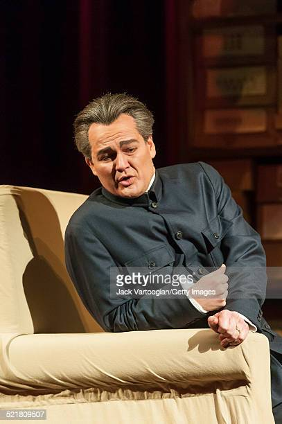 German baritone Russell Braun performs in the Metropolitan Opera/Peter Sellars production of 'Nixon in China' at the final dress rehearsal prior to...