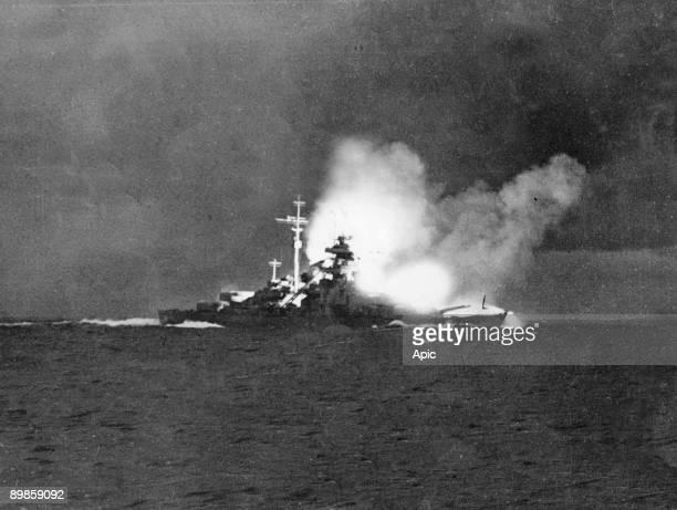 German battleship Bismarck and german cruiser warship Prinz Eugen during naval battle against english battleships Hood and Prince of Wales may 24...