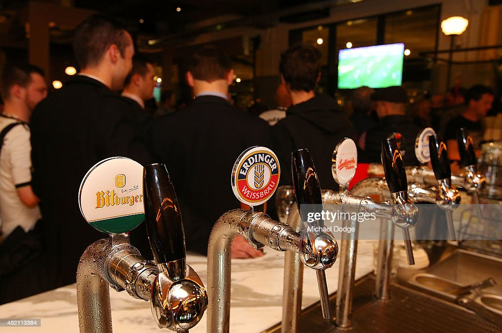 German beer is ready to be served as fans at Hophaus watch the 2014 FIFA World Cup Final match between Germany and Argentina on July 14, 2014 in Melbourne, Australia.