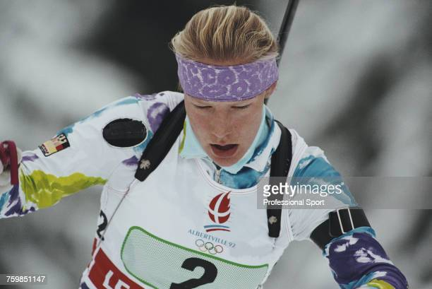 German biathlete Antje Harvey competes for Germany to finish in second place to win the silver medal in the Women's relay biathlon event at the 1992...