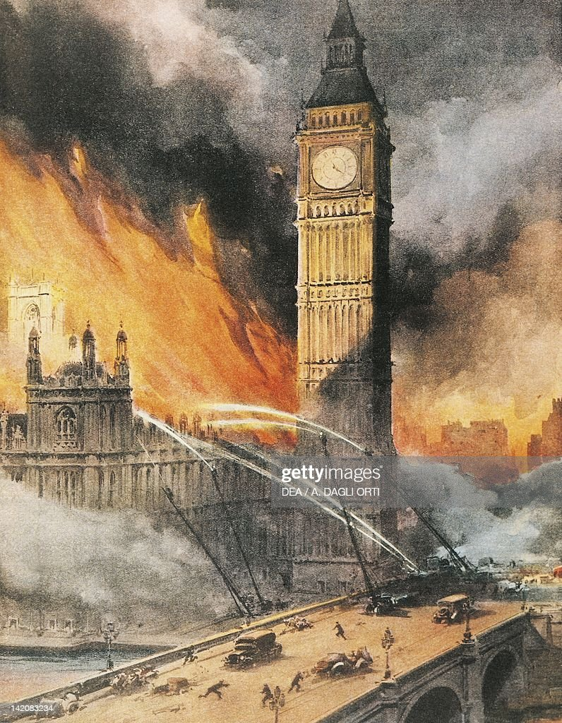 German bombardment of Westminster Palace London Illustrator Achille Beltrame from La Domenica del Corriere 1943