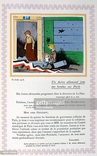 German bombing of Paris 30th August 1914 A book of the principal events of the war period A print from Le livre des heures héroïques et douloureuses...