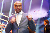 German boxer Arthur Abraham poses next to the ring prior to the WBA super middle weight World Championship fight between Felix Sturm of Germany and...