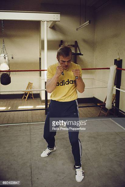 German boxer Jurgen Blin pictured wearing an Adidas tshirt as he trains in a sparring ring in May 1971 prior to his heavyweight fight with Joe Bugner...