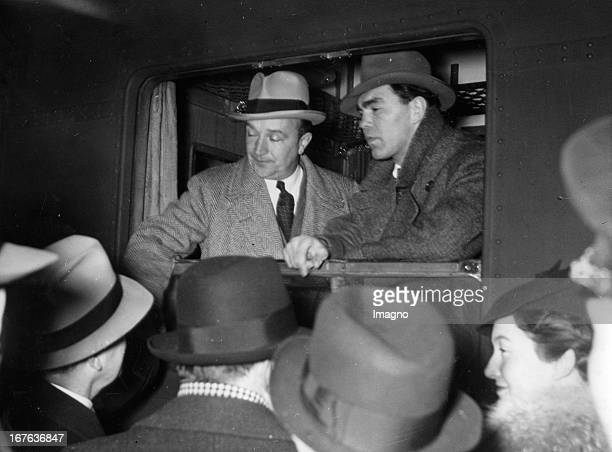 German boxer Max Schmeling and his coach Machon depart from Berlin Zoologischer Garten station to the United Staes of America Berlin Germany...