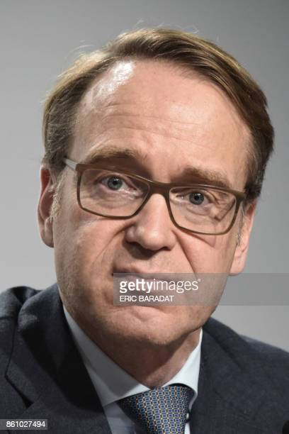 German Bundesbank President Jens Weidman gives a press conference at the World Bank and International Monetary Fund annual meetings on October 13...
