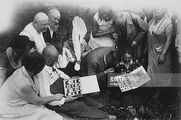 German butterfly and beetle collectors are comparing their insect collections About 1930