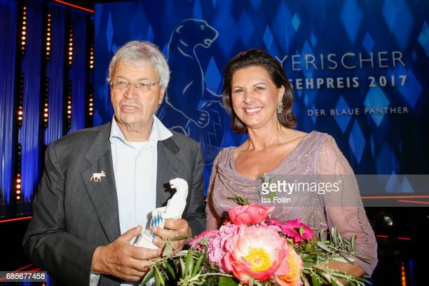 German cabaret artist and award winner Gerhard Polt and Bavarian Minister for Economic Affairs Ilse Aigner during the Bayerischer Fernsehpreis 2017...