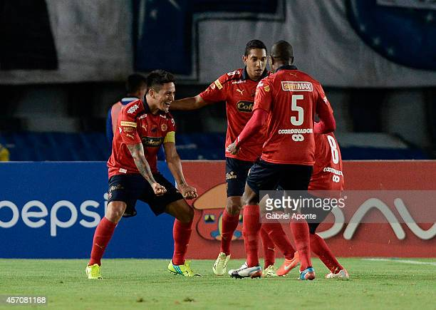 German Cano of Independiente Medellin celebrates a goal during a match between Millonarios and Independiente Medellin as part of Liga Postobon 2014...