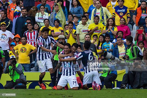 German Cano of Pachuca celebrates after scoring the fourth goal of his team during a quarterfinal second leg match between America and Pachuca as...