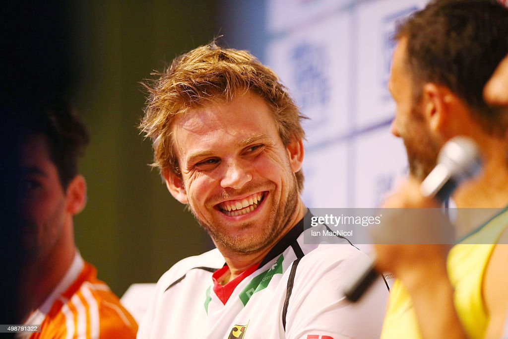 German captain <a gi-track='captionPersonalityLinkClicked' href=/galleries/search?phrase=Moritz+Fuerste&family=editorial&specificpeople=657212 ng-click='$event.stopPropagation()'>Moritz Fuerste</a> reacts during The Hero Hockey League World Final press conference ay the Taj Gateway Hotel on November 26, 2015 in Raipur, India.