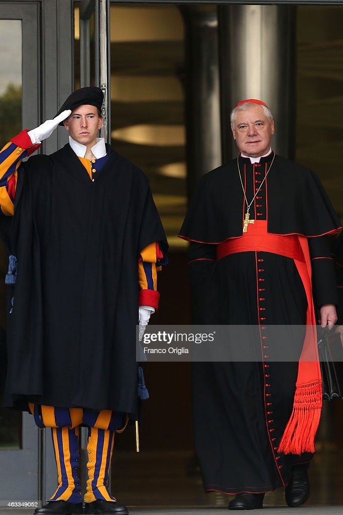 German cardinal Gerhard Ludwig Muller leaves the Synod Hall at the end of the Extraordinary Consistory for the creation of new cardinals on February 13, 2015 in Vatican City, Vatican. Reform of the Curia, is at the centre of the Extraordinary Consistory which included the 20 prelates who will be created Cardinals on Saturday.