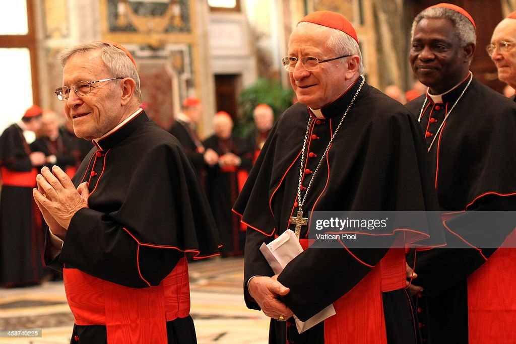 German Cardinal Walter Kasper (L) and Ghanaian cardinal Peter Kodwo Appiah Turkson (R) wait to exchange Christmas greetings with Pope Francis at the Clementina Hall on December 21, 2013 in Vatican City, Vatican. In his message, the Pope expressed the three hallmarks of a Curial official: professionalism, service and holiness of life. He urged the Curia to be 'conscientious objectors to gossip' and expressed his gratitude for the dedicated service of the retiring members of the Curia.
