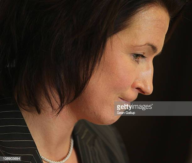 German champion speedskater Claudia Pechstein speaks at a press conference on the day of the lifting of her twoyear competition ban on February 8...
