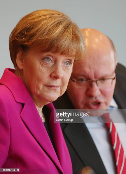 German Chancelleor Angela Merkel and Minister of the Chancellery Peter Altmeier attend the weekly German government cabinet meeting on March 11 2015...