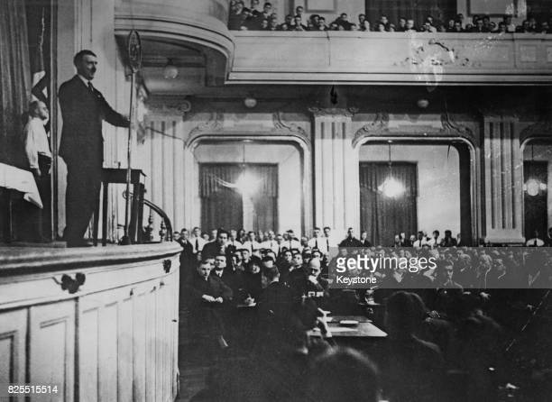 German Chancellor Adolf Hitler addresses members of the new National Socialist German Students' League in Berlin Germany 1930