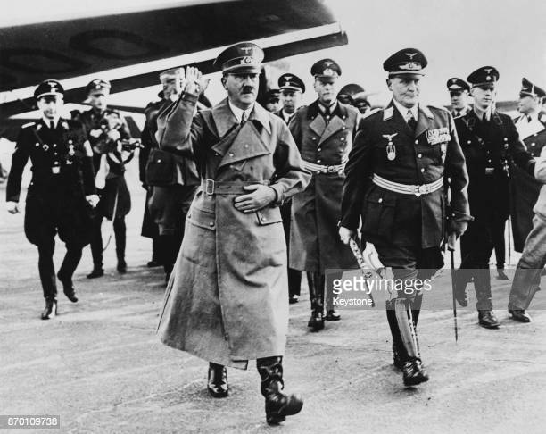 German Chancellor Adolf Hitler is met by Hermann Goering at Tempelhof Aerodrome Berlin on his return from Vienna March 1938