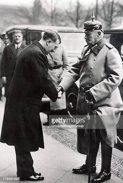 German Chancellor Adolph Hitler greeting President Paul von Hindenberg 1933